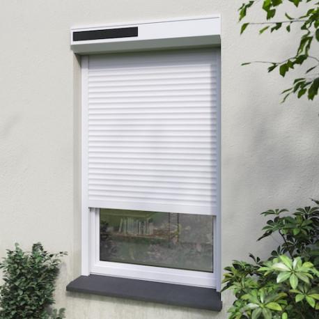 volet solaire blanc H 1m60 x L 1m50 lames ALU, ajustable facilement en hauteur et largeur